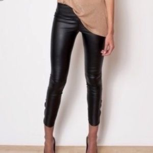 H&M Black Faux Leather Skinny Pants NWT